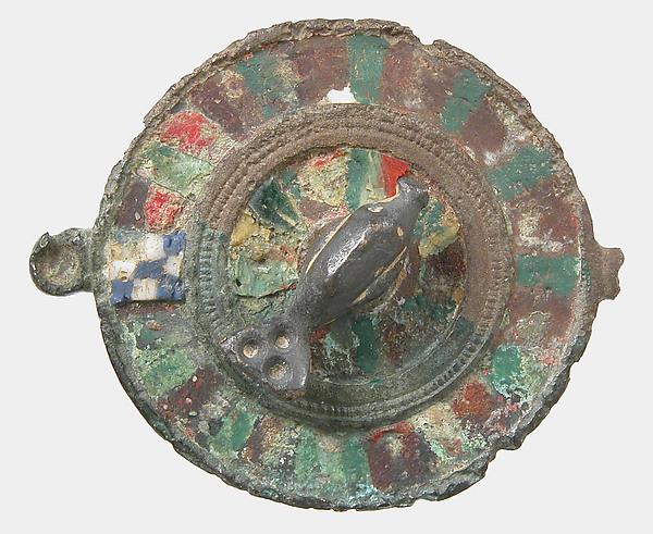 Disk Brooch, Champlevé enamel, copper alloy, Roman