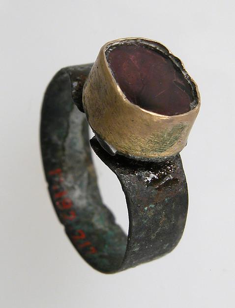 Finger Ring, Silver, gold bezel, glass paste or carnelian(?), Frankish