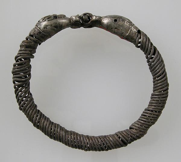 Bracelet, Silver, garnet or glass paste eyes, Roman