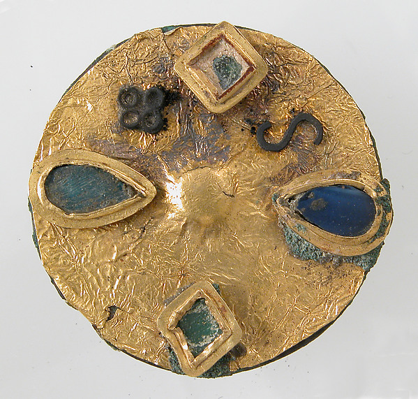 Disk Brooch, Copper alloy, gold foil, silver, paste, iron pin, Frankish