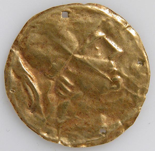 Bracteate with Human Head, Gold, Roman
