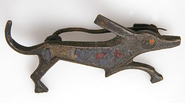 Brooch in the Form of a Dog, Champlevé enamel, bronze, Roman