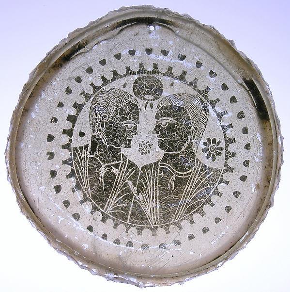Bowl Base, Glass, gold leaf, Roman