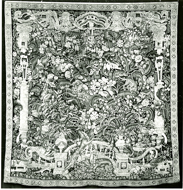 Thickets with Large Leaves, Flowers, Animals,..., Wool warp, wool wefts with a few silk wefts, South Netherlandish