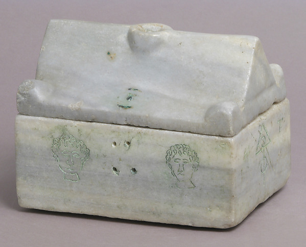 Reliquary Casket, Marble with traces of paint in modern incised decoration, Byzantine