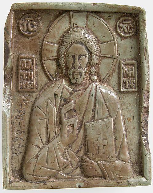 Icon with Christ Pantokrator, Steatite, green, Byzantine