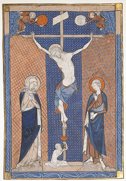 Manuscript Leaf with the Crucifixion, from a Missal, Tempera and gold on parchment, French