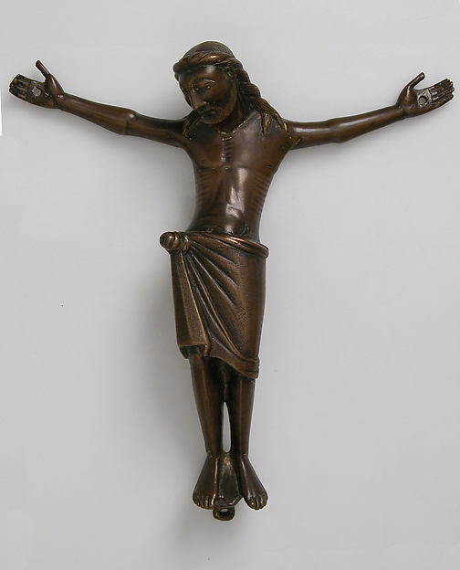 Crucified Christ, Cast copper alloy engraved and stippled, with traces of gilding, Mosan or Rhenish