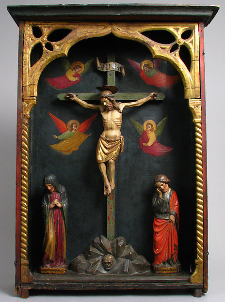 Tabernacle with Crucifixion Scene, Wood (poplar and oak), paint and gilding, North Italian