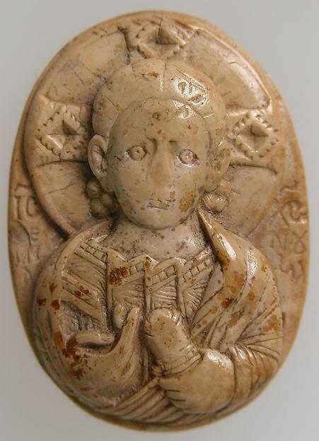 Cameo with Christ Emmanuel, Steatite, beige, Byzantine