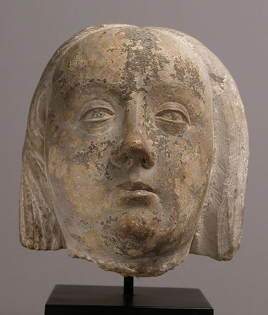 Head of a Woman, Limestone with traces of polychromy, French