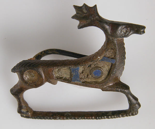 Brooch in the form of a Stag, Copper alloy, champleve enamel, Roman