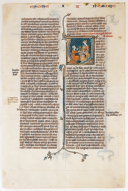 Manuscript Leaf with Opening of The Book of Nehemias, from a Bible, Tempera and gold on parchment, French