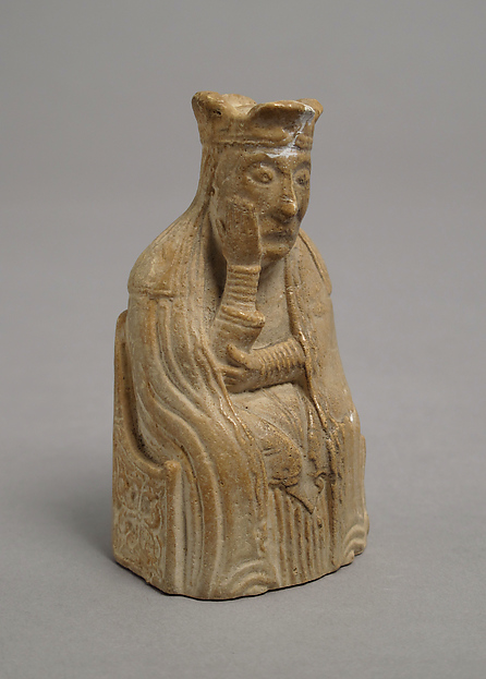Chess Piece of a Queen (Copy of one of the Lewis Chessmen), Plaster cast, Scandinavian