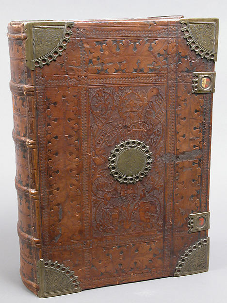 Bible, Binding: leather (stamped & tooled) with engraved brass fittings, ink printed on paper, 1st folio hand colored in tempera, metal leaf, and shell gold, German