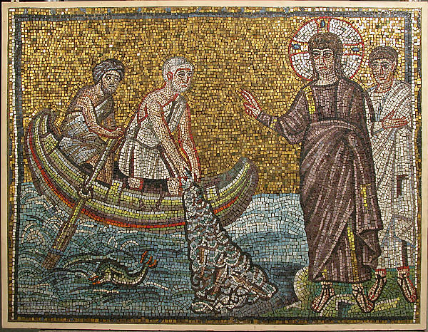 Miraculous Draught of Fishes, Tesserae, glass in wooden frame, Byzantine