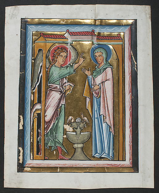 Manuscript Leaf with the Annunciation, from a Psalter, Tempera, ink, gold, and silver on parchment, German