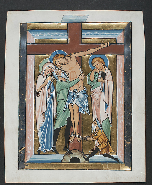 Manuscript Leaf with the Deposition, from a Psalter, Tempera, ink, gold, and silver on parchment, German