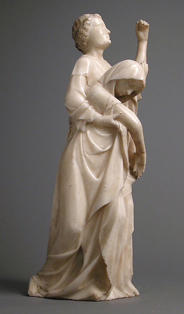 The Virgin Supported by Saint John, from a Crucifixion Group, Marble, traces of gilding, South Netherlandish