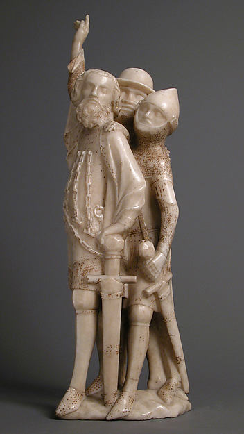 The Centurion and Two Soldiers, from a Crucifixion Group, Marble, gilding, Franco-Netherlandish