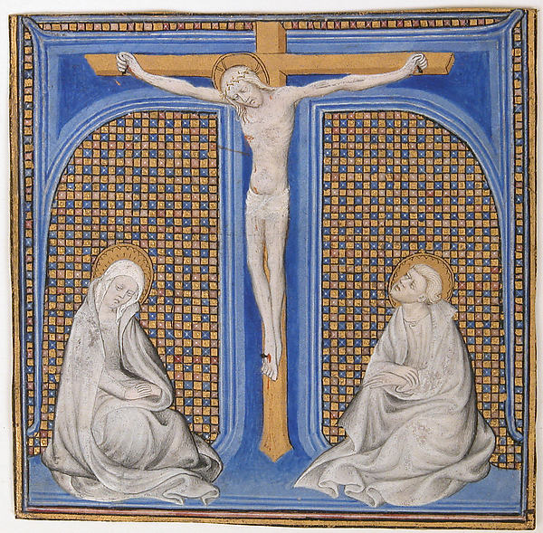 Manuscript Illumination with Crucifixion in an Initial T, from a Missal, Tempera, ink and gold on parchment, French
