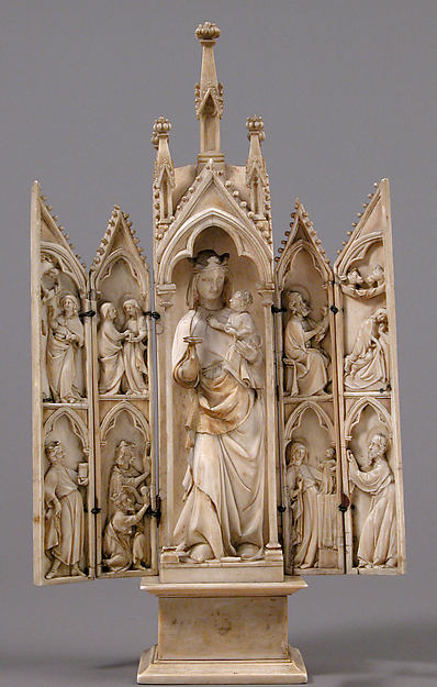 Tabernacle with Scenes from the Infancy of Christ, Ivory with metal mounts, French