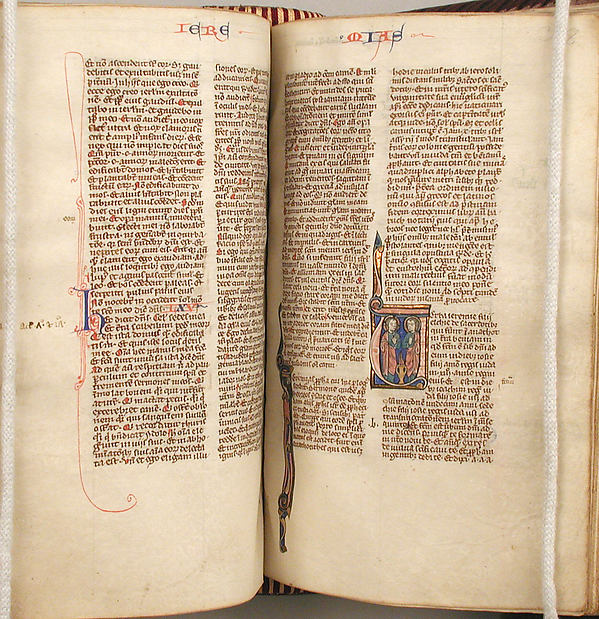Bible, Tempera, ink, and metal leaf on parchment; leather binding, French