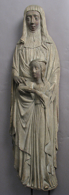Education of the Virgin by Saint Anne, Alabaster, paint, Spanish