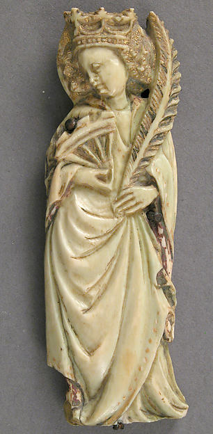 Plaque with Saint Catherine of Alexandria, Ivory, traces of paint & gilding, French