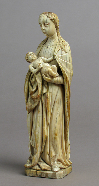 Virgin and Child, Ivory, modern copper-gilt crown, French