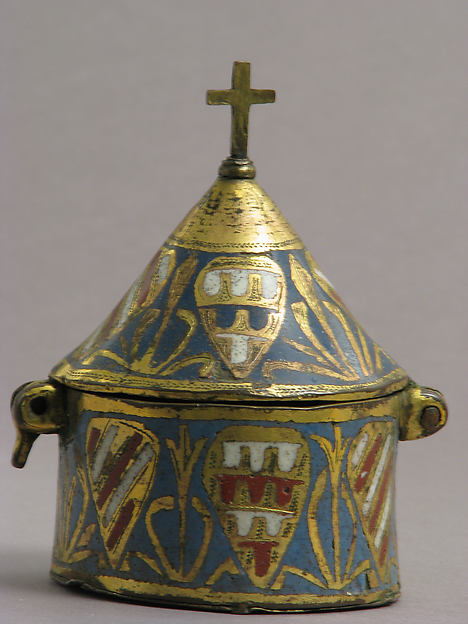 Pyx, Copper: engraved and gilt, champlevé enamel: medium blue, red, and white, French