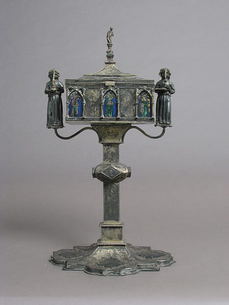 Reliquary, Silver-gilt, basse taille enamel, Italian