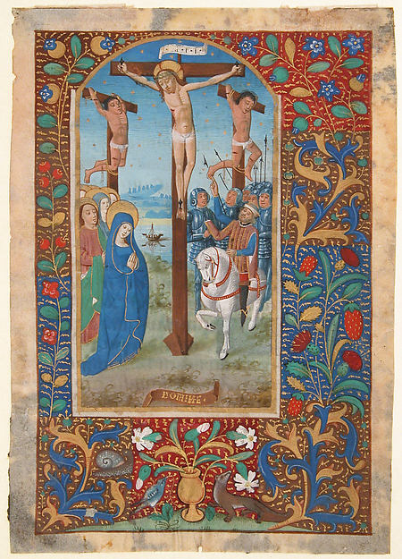 Manuscript Leaf with the Crucifixion, from a Book of Hours, Tempera, ink, and shell gold on parchment, North French