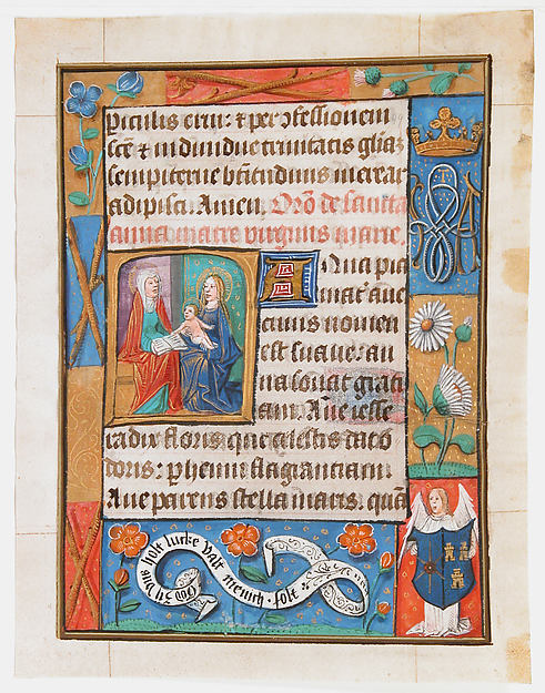 Manuscript Leaf from a Book of Hours, Tempera, ink, and shell gold on parchment, Netherlandish