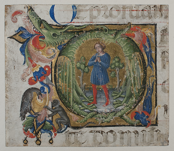 Manuscript Illumination with Initial Q, from a Choir Book, Tempera, ink, and gold on parchment, North Italian