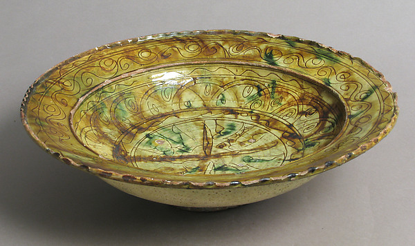 Tricolor Bowl, Terracotta with yellow-brown and green glaze over slip, decorated in sgraffito, Byzantine