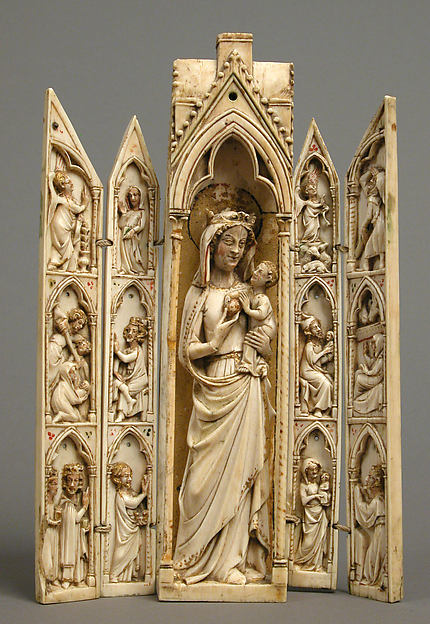 Tabernacle with the Virgin and Child and Scenes from the Life of Christ, Ivory, traces of paint and gilding, French
