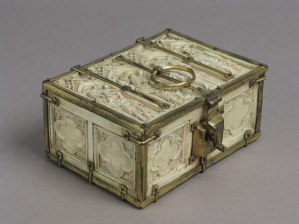 Casket, Ivory, gilt copper mounts, French