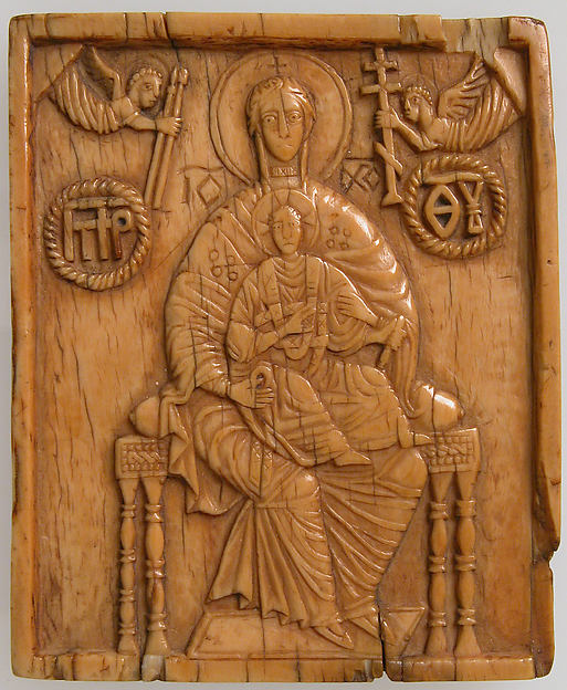 Icon with Virgin and the Christ Child, Ivory, Russian or Greek