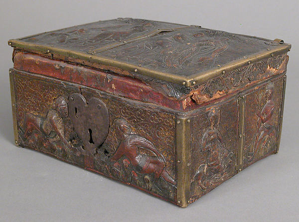 Coffret, Embossed leather, walnut, gilding, polychromy, copper alloy and iron fittings, French