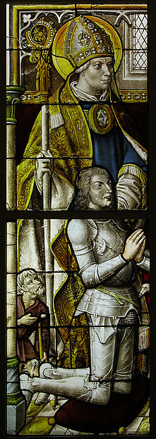 Stained Glass Panel with a Knight and His Patron Saint, Pot metal, white glass, vitreous paint, silver stain, German