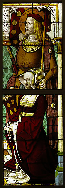 Stained Glass Panel with a Lady and her Patron Saint, Pot metal, white glass, vitreous paint, silver stain, German