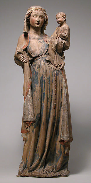 Virgin and Child, Limestone with traces of paint and gilding, French