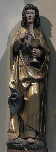 Saint John the Evangelist, Wood, gilded & painted, German