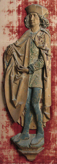 Male Relief Figure, Limewood with paint and gilding, German