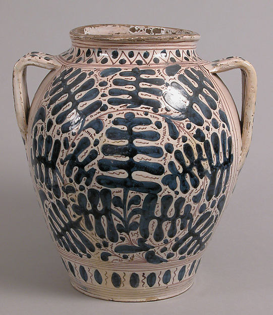 Two-Handled Jar, Tin-glazed earthenware, Italian