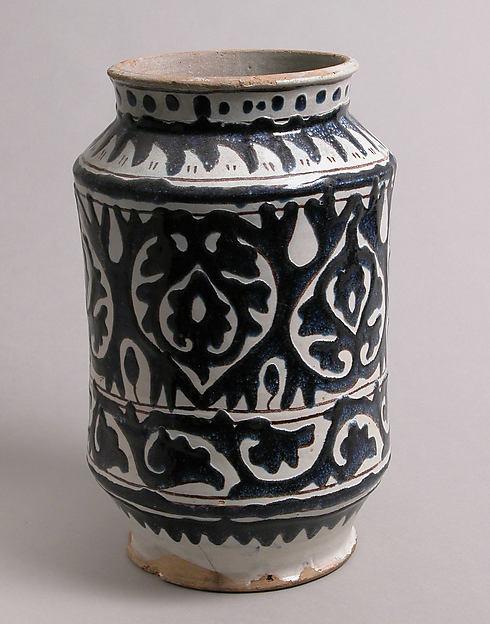 Pharmacy Jar, Tin-glazed earthenware, Italian