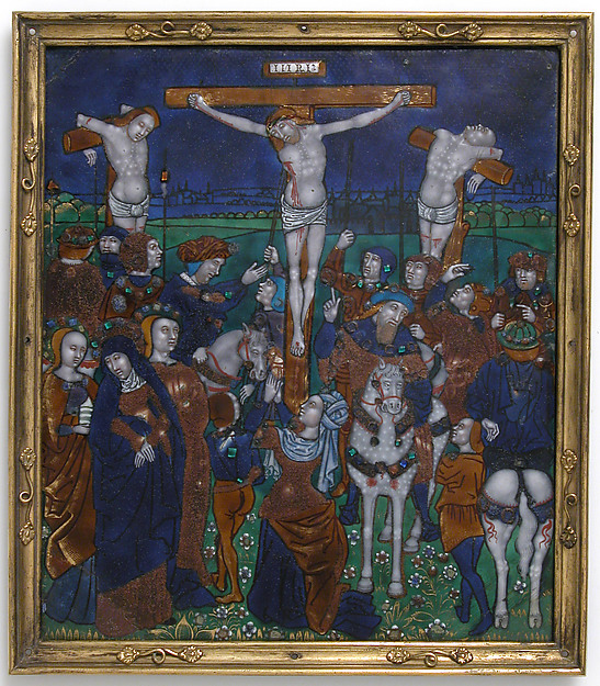Plaque with the Crucifixion, Workshop of Nardon Pénicaud (French, 1470–1542/43), Enamel on copper, French