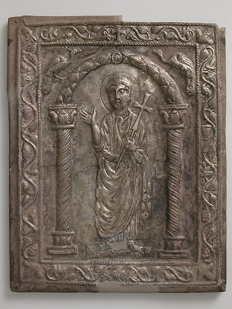 Plaque with Saint Peter, Silver, niello, originally partially gilt, Byzantine
