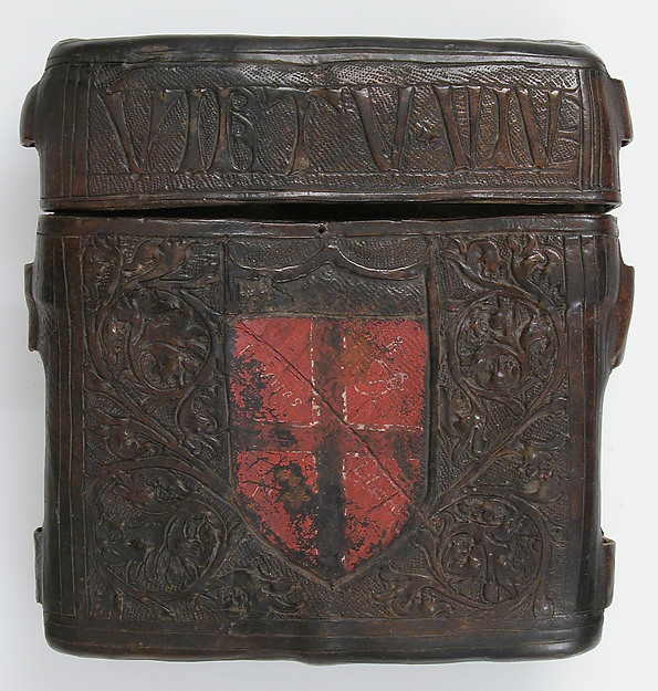 Book Box, Cuir bouilli (tooled leather), polychromy, Italian